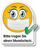 2er Aufkleber-Set I Bitte tragen Sie einen Mundschutz I 10 x 12 cm eckig I Hinweis-Klebeschildchen...