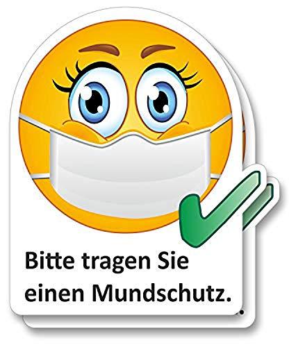 2er Aufkleber-Set I Bitte tragen Sie einen Mundschutz I 10 x 12 cm eckig I Hinweis-Klebeschildchen Nasen-Mund-Schutz benutzen mit Smiley I für Firmen Geschäfte Praxis I dv_827