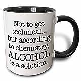 3dRose Alcohol Is A Solution, Black Mug, 11 oz