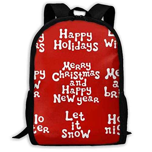 huatongxin School Backpack Christmas and New Year Calligraphy Phrases Red Bookbag Casual Travel Bag for Teen Boys Girls