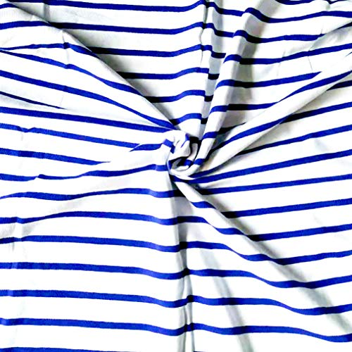 Fabric by The Yard Cotton Spandex Blue and White Stripes Single Jersey Knit Fabric Yarn Dyed 4 Ways Stretch for T Shirt Pajama Skirt Pet Dec.Table Cloth Dust Cover Pet Deca DIY (1 Y)