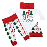 Christmas Outfit Baby Girls My First Christmas Romper Bodysuit Onesie Deer Christmas Tree Print Pants 3-6 Months White