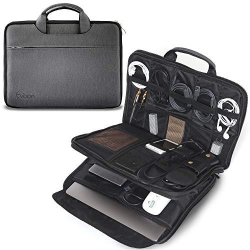 Evoon パソコン ケース ノートパソコン ケース ガジェットポーチ バックインバック 15-16インチ 防水/衝撃吸収/多機能 MacBook Pro 15 16/ dell 15.6inch PCケース グレー