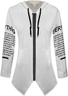 YiyiLai Women Hooded Letter Zip Irregular Long Sweater Sweatshirt Jacket