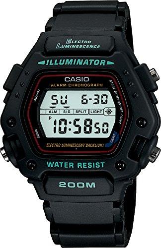 Casio - DW-290-1VSEF - Montre Homme - Quartz - Digital - Chronographe - Alarme - Rétro éclairage - Bracelet Résine Noir