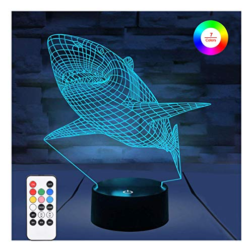 WOlight 3D Night Lights for Kids Illusion Lamp with Remote Control and Timer&Smart Touch 7 Colors Changing Table Desk Bedroom Deco Optical Illusion Lamps As a Gift Ideas for Boys or Girls (Shark)