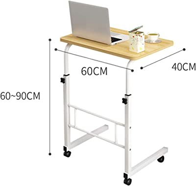 WERTYG Laptop Desk Table Standing Computer Desk Stand Adjustable Office Table Movable with Wheels for Hospital Reading Eating Folding Table (Color : White, Size : 60 * 40CM)