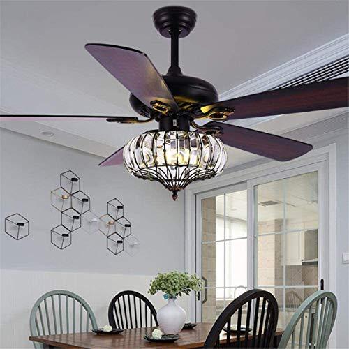 Deckenventilator mit Beleuchtung Deckenventilator mit LED-Beleuchtung, amerikanische unsichtbare Kristalldeckenventilator Lampe Reversible Blades Seilschalter for Restaurant Schlafzimmer Kinderzimmer