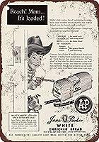 1955ジェーンパーカーホワイトパンコーヒーハウスまたはホームメタルティンサイン