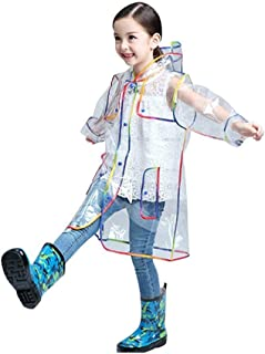 DYJD Transparent Waterproof Rain Jacket for Children, Girl's Raincoat with Hooded, Thick Clear Impermeable Rainwear for Outdoors Travel