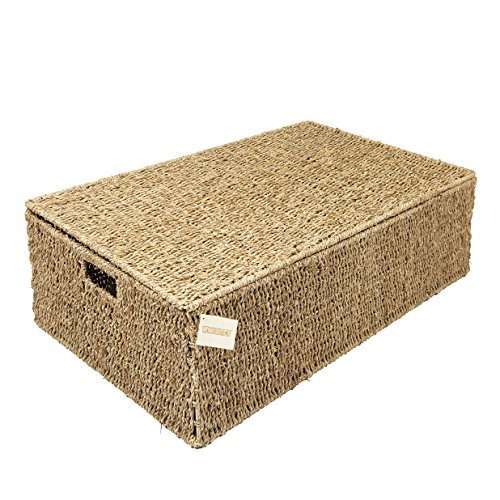 Woodluv Seagrass Under Bed Storage Box Chest Basket - Large