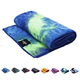 SUMI ECO ECO-FRIENDLY The Perfect Yoga Mats Towel - Super Soft, Sweat Absorbent, Multicolored Wicking, Non-Slip Bikram Hot Yoga Rug for Pilates Lovers (Green Blue Mix)