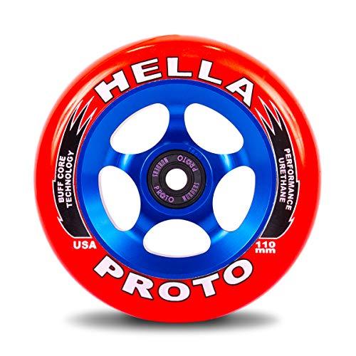 Proto X Hella Grip stunt-step 110 mm rol rood op blauw blauw/Pu rood + Fantic26 sticker