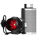 VIVOHOME 4 Inch 188 CFM Inline Duct Fan with 4 Inch Carbon Filter Control and Australia Virgin Charcoal Combo Set