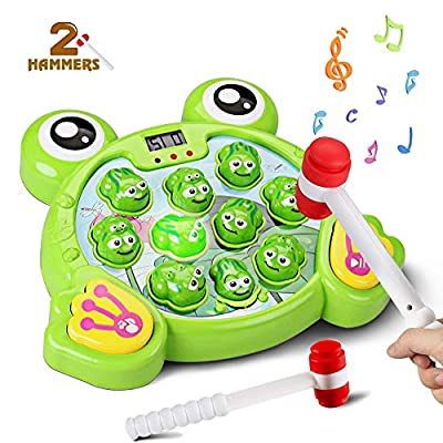 Byserten Whack a Frog Game for Kids, Toys for 2 3 4 5 6 Year Old Boys and Girls Interactive Pounding Game Early Developmental Toy with Music Light Toddler Kids Gifts Include 2 Hammers