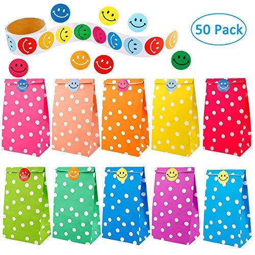 SHI WU 50 Pz Sacchetti Regalo di Carta DOT Pattern con Un Rotolo di 100 Adesivi faccine per Bambini Compleanno per Feste