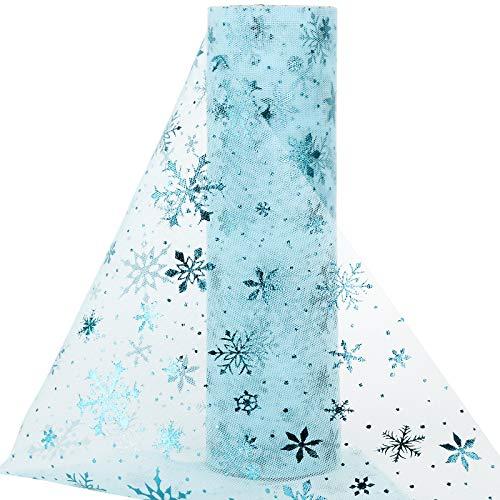 20yardes Rollo Tul Tela Tul Carrete Tulle Ancho 25cm Decoración Hogar Navidad Fiesta Manualidades Camino Mesa Envolver Regalos Cinta Lazos Falda Azul