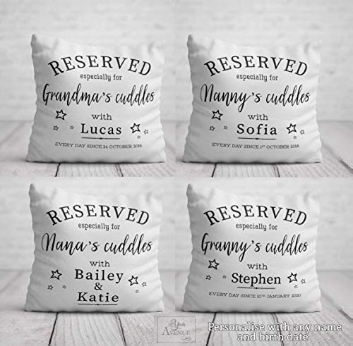 Reserved for Nanny's Cuddles Cushion - Best Grandma Birthday Gift from Baby Toddler - Personalised New Nana Mother's Day Pillow 40 x 40cm / 16 x 16in