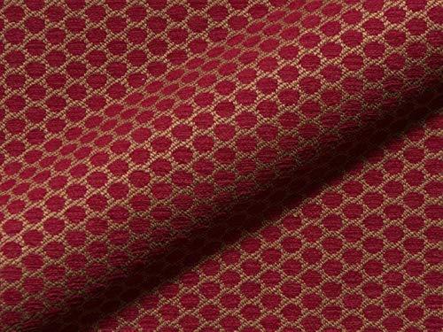 Raumausstatter.de Möbelstoff GRADO Muster Punkte rot als robuster Bezugsstoff, Polsterstoff als Meterware Gemustert zum Nähen und Beziehen, Fleckschutz