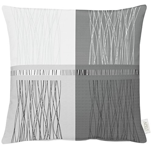 APELT Kissenhülle, Polyester, Grau/weiß, 49 x 49 x 0.5 cm
