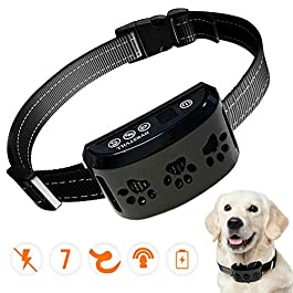 HVRSTVILL Advanced Bark Collar, Anti Bark Collar for Small Medium Large Dogs, Stop Barking Device – NO SHOCK, Safely and Humane with Sound & Vibration, Rechargeable and Adjustable Belt 7-55kg