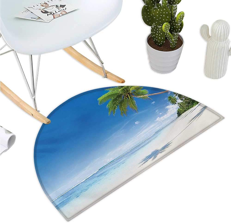 Ocean Semicircular Cushion Tropical Beach with Palm Trees in The Ocean Summer Paradise Image Modern Design Bathroom Mat H 43.3  xD 64.9  bluee Green Cream