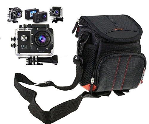 Navitech schwarz Action Kameratasche/Abdeckung - Mit Mehreren Taschen, einschließlich anpassbare interne Ablagefächer für die iSAW Edge/Wing/AIR