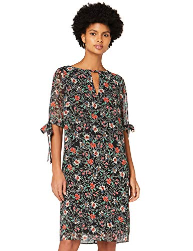 Amazon-Marke: TRUTH & FABLE Damen Chiffon-Kleid mit A-Linie, Mehrfarbig (Mini-schablone), 42, Label:XL