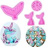 4 piezas cola de sirena y concha de mar molde de silicona para decoración de cupcakes, molde de chocolate para fiesta temática de sirena o fiesta de cumpleaños