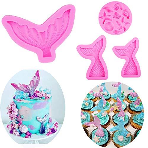 Meerjungfrau Silikonform für Kuchen Dekoration, Süßigkeiten Schokoladenform, für Meerjungfrau Themenparty oder Geburtstagsfeier, 4 Stück