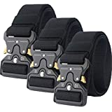 Clobri Tactical Belt, 3 Pack Riggers Belt,1.5 Inch Nylon Webbing Belts for Men and Women,with Quick Release Heavy Duty Buckle,for Cargo Pants