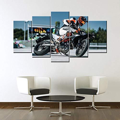ZNNHERO Leinwanddrucke Leinwand Malerei 5 Stück Wandkunst HD-Drucke Modulare Supermoto Bilder Home Decor Poster Drucke auf Leinwand Rahmen