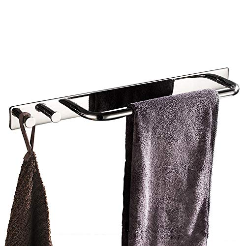 HYCZW Handdoekenrek, Ponsvrij Multi-Functie Roestvrij Staal Gemakkelijk te reinigen Ophanghaak Zilver Geschikt voor Badkamer Grootte 39 * 3,5 cm