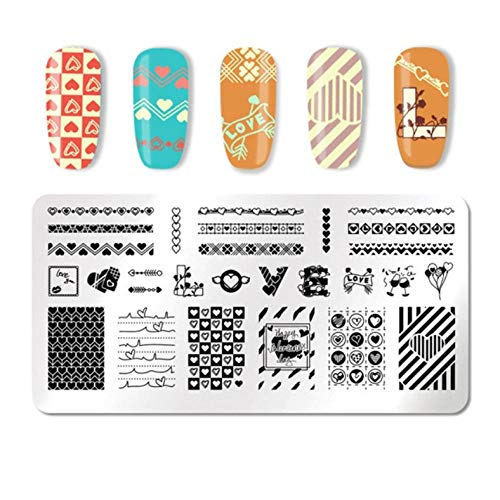 DIY Rectangle Nail Stamping Plate Flower Floral Love Nail Art Image Stamp Stamp Stamper Template Stencil