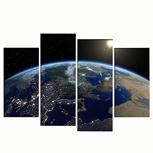 LJFYXZ Quadro su Tela Universo planetario Stampa ad Alta Definizione Decorazione murale Soggiorno Camera da Letto Pittura Artigianale Decorazioni per la casa Set di 4 Pezzi (Nessuna Cornice)