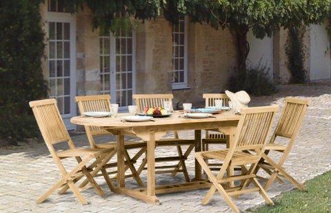 MACABANE 500923 Salon de Jardin Couleur Brut en Teck Dimension 150/200cm X 90cm X 75cm