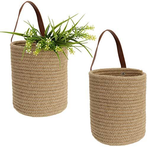 Lawei Set of 2 Jute Hanging Storage Basket - Woven Fern Hanging Basket Flower Plants Jute Woven Basket Wall Planter Baskets for Flower Plants Towels Toys
