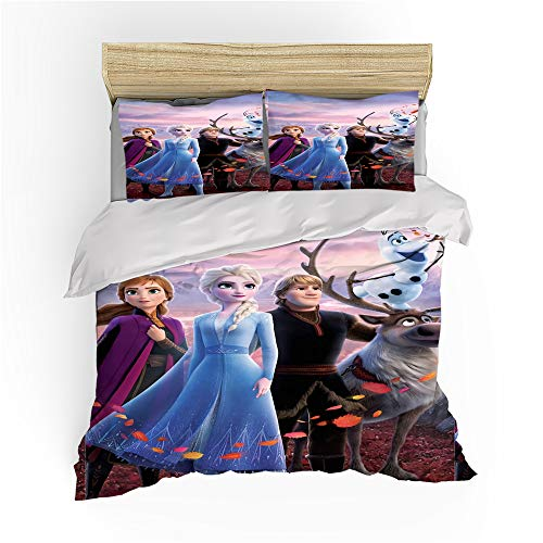 HLSM Frozen Disney Bedding Set for Single Double King Size Bed, Microfiber Duvet Cover set with Pillowcases Princess print for children (A08,135X200CM)