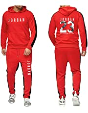 Heren 2 Stuks Sets Jordan # 23 Trainingspak Mannen Herfst Winter Hooded Sweatshirt +Trekkoord Broek Mannelijke Hoodies Basketbal Training Kleding, Rood, S
