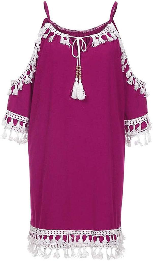 LISTHA Cold Super-cheap Shoulder Tassel Mini Co Tucson Mall Short Dresses Sundress Women