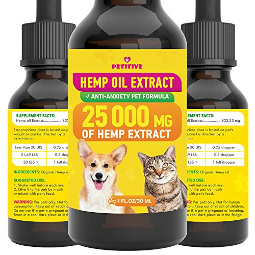 PETITIVE Pet Hemp Oil - 25 000 MG - Separation Anxiety, Pain, Stress,...
