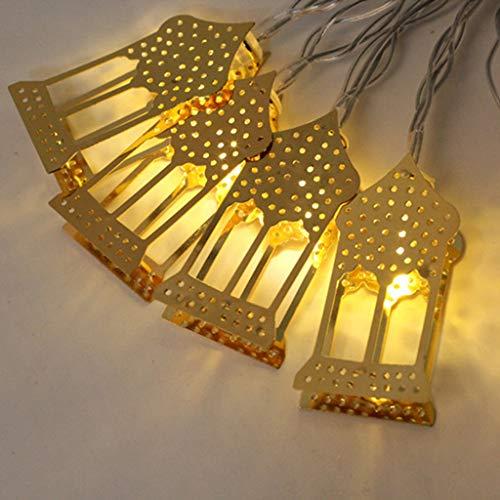 Lichterkette Muslim Ramadan Festival,FeiliandaJJ 1.6M 10LED Goldenen LED-Laternen LED Licht Hochzeit Party Halloween Xmas Innen/Außen Haus Deko String Lights (Gelb)