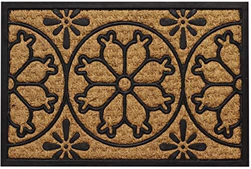 Tapis Eingangsmatte Fußmatte aus natürlicher Kokosfaser in schwarzem Kautschuk (Blumen Muster) Schmutzfangmatte Sauberlaufmatte für Ihren Eingangsbereich