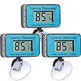 3 Pieces Aquarium Thermometer with Suction Cup LCD Digital Waterproof Thermometer for Fish Tank Aquarium Amphibians and Reptiles Terrarium Fahrenheit Display