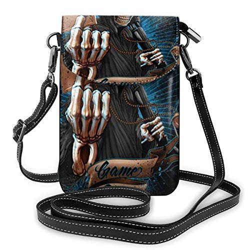 Crossbody teléfono celular monedero Grim Reaper reloj de arena Ace r juego sobre las mujeres pu cuero multicolor bolso con correa ajustable