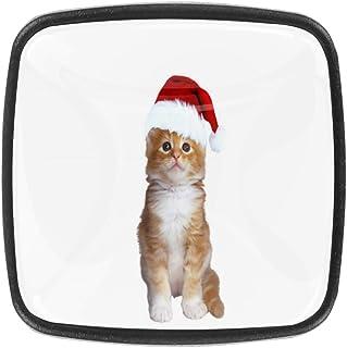 Pomos para cajón de Navidad diseño de gato (30 mm 4 unidades)
