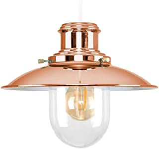 Ceiling Lights Lamps Chandeliers Pendant Light Fixtures Polished Copper Metal and Glass Fisherman's Vintage Style Lantern Easy Fit Ceiling Lamp Pendant for Bedroom Living Room Kitchen Aisle Restauran