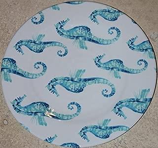 Sigrid Olsen Home Light Blue Heavy Duty Seahorse 100% Melamine 10-3/4 Dinner Plates- Set of 4