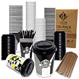Double Walled Disposable Cups – 100-Pcs Set 12oz Bulk Coffee Paper Cups – Double Wall Insulated Cups – Resealable Coffee Lid and Anti-Spilling Design – Ideal for Café, Catering, Home (Espressome)