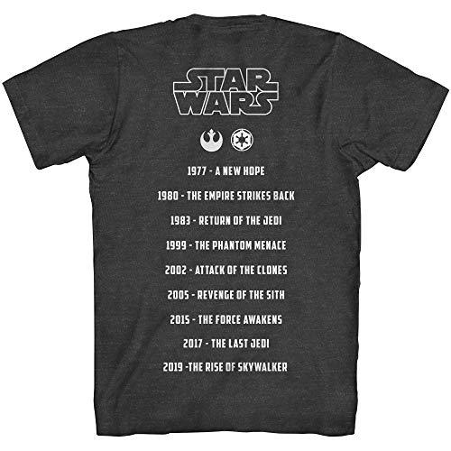 Star Wars Rise Skywalker Herren-T-Shirt aus der Filmliste mit Datumsangaben -  Schwarz -  Mittel
